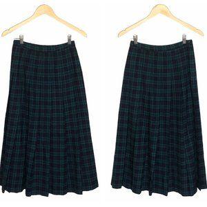 80's Woolmark Pleated Midi Skirt Plaid Academia